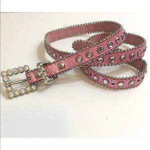 Bling Rhinestone Studded Pink Silver Belt Size S/M
